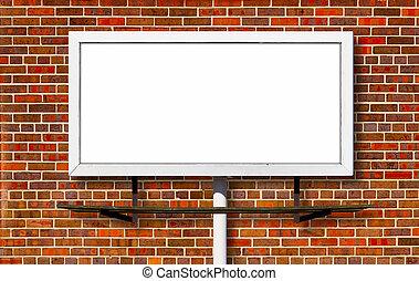 panneau affichage, brique, publicité, fond, signe