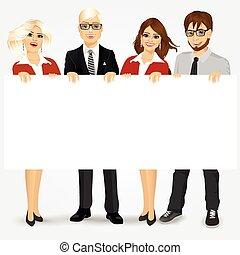 panneau affichage, businesspeople, tenue, vide
