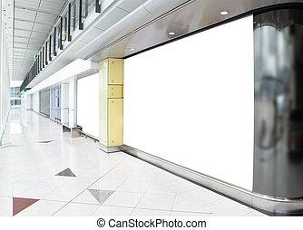 panneau affichage, centre commercial, achats, vide