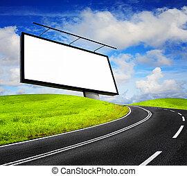 panneau affichage, ciel bleu, contre, vide