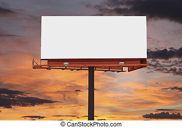 panneau affichage, ciel, coucher soleil, vide