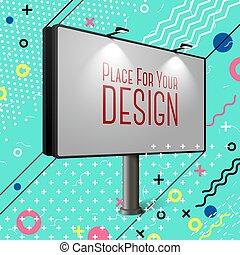 panneau affichage, clair, vecteur, résumé, style, memphis, eps