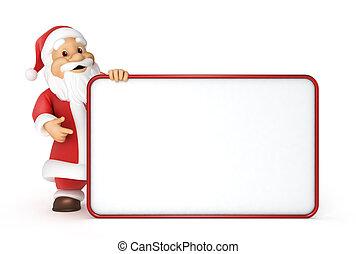 panneau affichage, claus, santa, vide