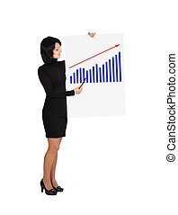 panneau affichage, femme, tenue