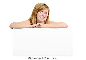 panneau affichage,  girl, blanc, jeune, Parenthèses