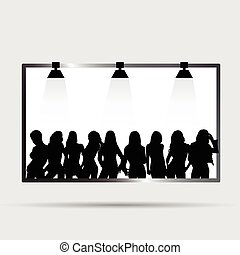 panneau affichage, girl, silhouette, illustration