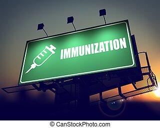 panneau affichage, immunisation, -, sunrise.