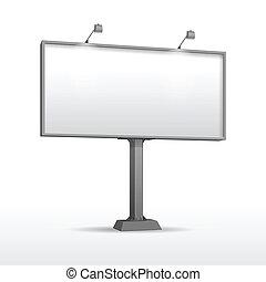 panneau affichage, message, extérieur, endroit, vide