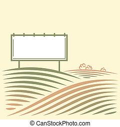 panneau affichage, paysage, vide