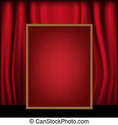 panneau affichage, rideau, arrière-plan rouge, vide