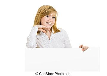 panneau affichage, Sourire, jeune,  girl, Parenthèses