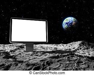 panneau affichage, surface, lune