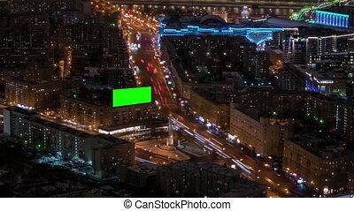 panneau affichage, -, trafic, voitures, écran, timelapse, bâtiment, vide, nuit, vert