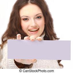 panneau affichage, vide, femme, jeune, tenue