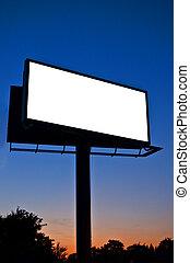 panneau affichage, vide, nuit