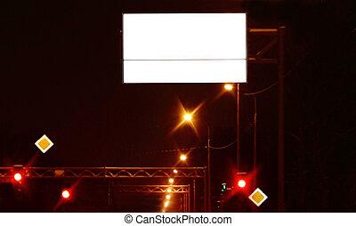 panneau affichage, ville, nuit