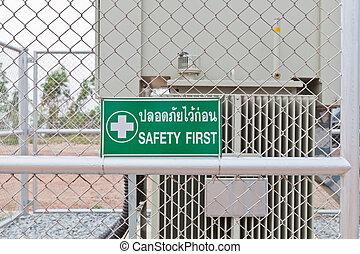panneau avertissement, sûreté abord