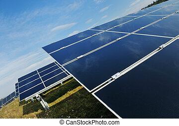 panneau, champ, énergie, solaire, renouvelable