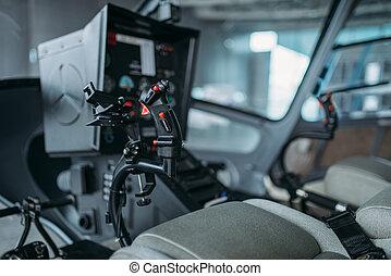 panneau commande, intérieur, personne, hélicoptère, cabine