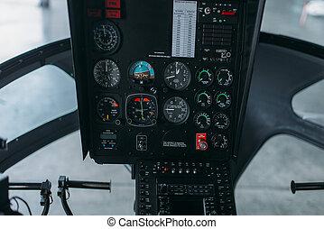 panneau commande, intérieur, tableau bord, hélicoptère, cabine