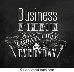 panneau déjeuner, craie, business