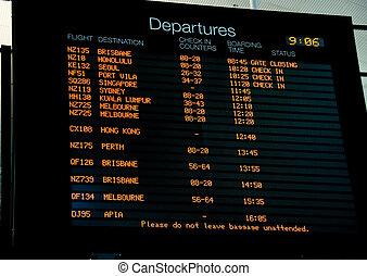 panneau départ, ligne aérienne