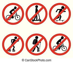 panneau de signalisation, divers, prohibition, sports