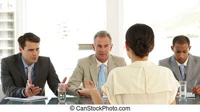 panneau, dur, interviewé, femme affaires, être