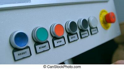 panneau, ingénieur, robotique, bouton, contrôle, 4k, pousser