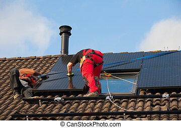 panneau, installation, solaire