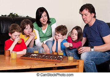 panneau jeu, famille, jouer