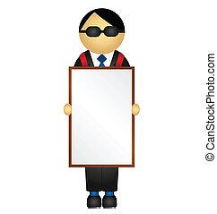panneau publicitaire porté homme-sandwich, publicité