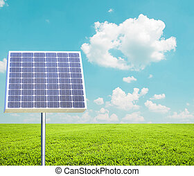 panneau solaire, contre, paysage, -, vert, énergie, concept