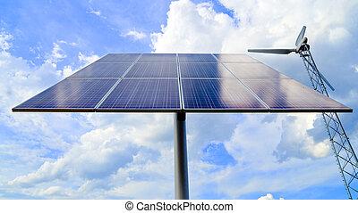 panneau solaire, et, aérogénérateur