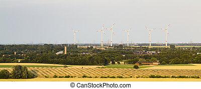 panneau solaire, parc, et, enroulez énergie