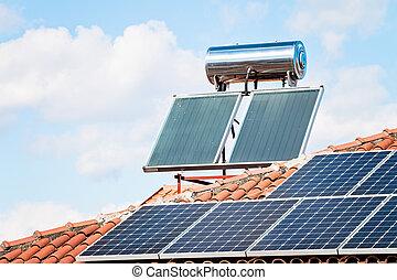 panneau solaire toit rouges bleu soleil ciel toit images rechercher photographies. Black Bedroom Furniture Sets. Home Design Ideas