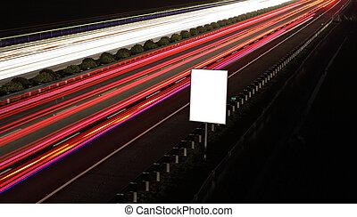 panneaux affichage, autoroute, vide, nuit