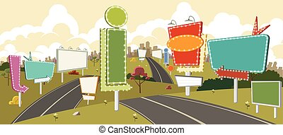 panneaux affichage, dessin animé, route