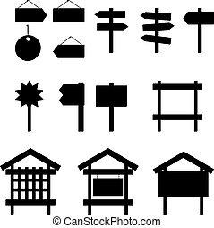 panneaux affichage, ensemble, signes, silhouette