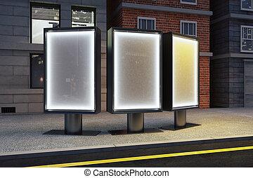 panneaux affichage, trois, haut, rue, nuit, railler