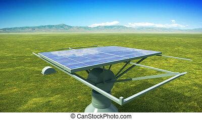 panneaux, installation, solaire