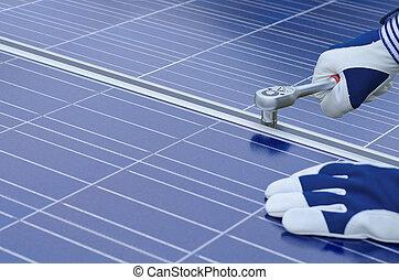 panneaux, montage, solaire