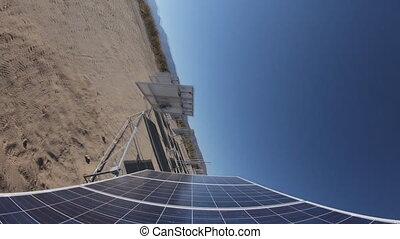 panneaux, mouvement, (time-lapse), solaire