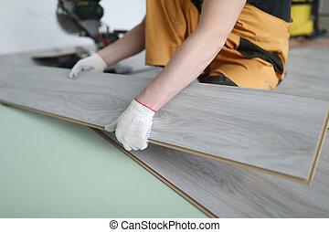 panneaux, réparateur, laminate, appartement, plancher, remplace