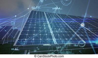 panneaux, réseau, solaire, animation, connexion