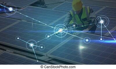 panneaux, réseau, solaire, sur, installation, animation, ...