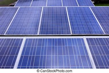 panneaux, rangées, solaire