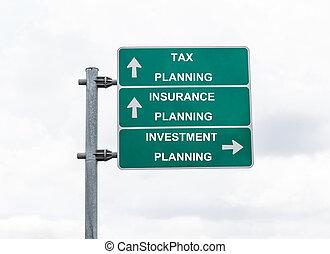panneaux signalisations, à, assurance, planification, impôt, planification, et, investissement, planification