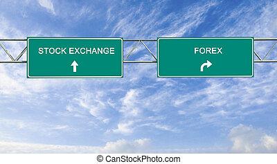panneaux signalisations, à, bourse, et, forex