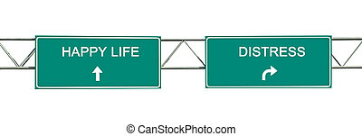 panneaux signalisations, à, heureux, vie, et, détresse